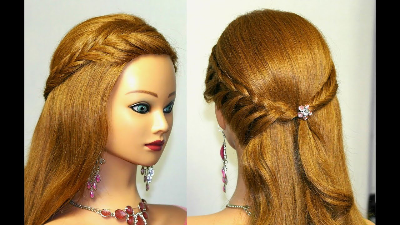 New Easy Bridal Prom Hairstyle For Medium Long Hair Youtube Ideas With Pictures