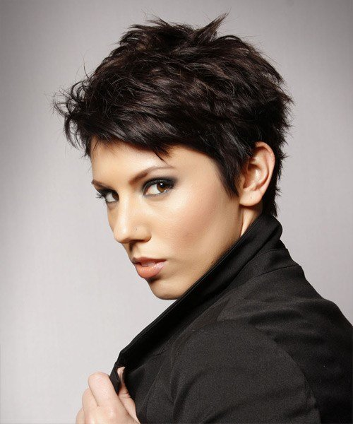 New Short Straight Casual Layered Pixie Hairstyle Dark Mocha Ideas With Pictures