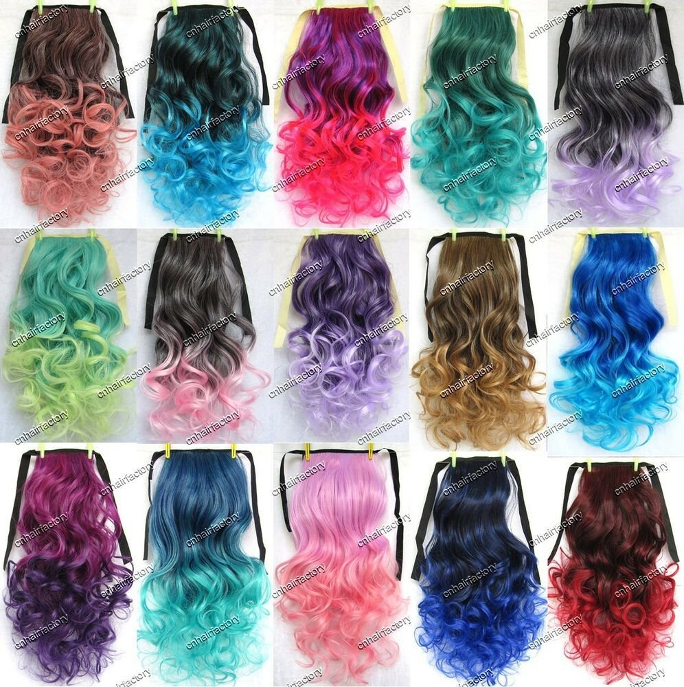New Clip In Ombre Ponytail Colorful Hair Tail Colored Curly Ideas With Pictures
