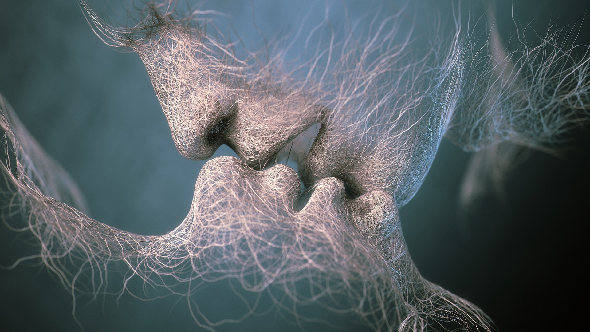 Computer People Kissing