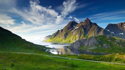 nature, Landscape, Mountain, Clouds, Road, Grass, Coast ...