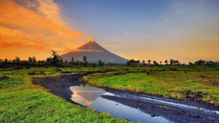 Landscape Volcano Stream Smoke Philippines Wallpapers