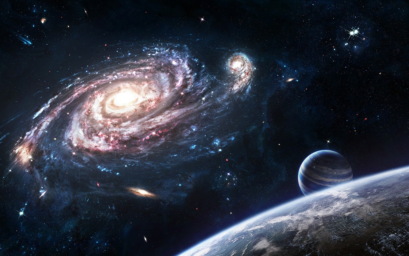 artwork, planet, spiral galaxy, space art wallpapers hd / desktop