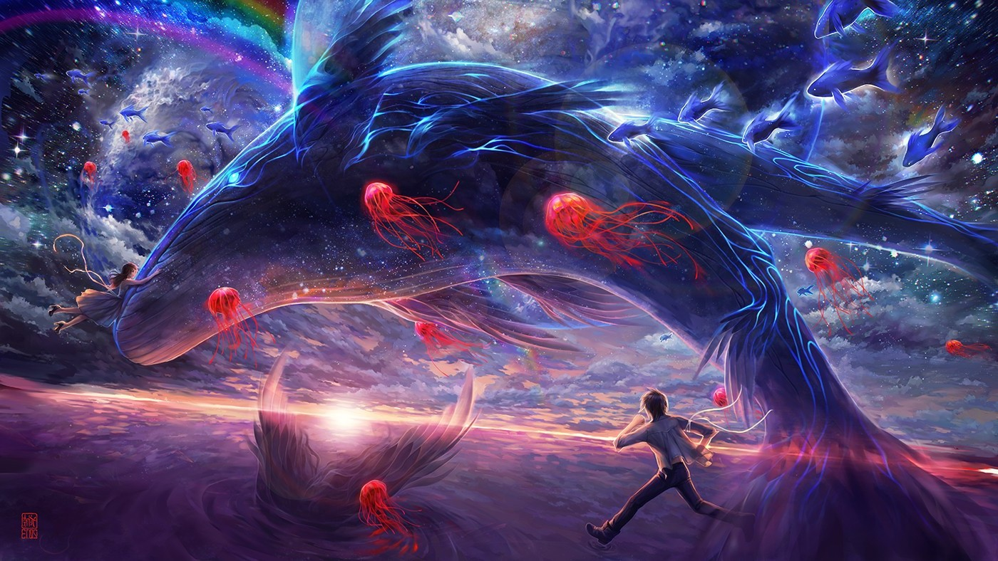 fantasy art, digital art, whale, jellyfish, rainbows, running