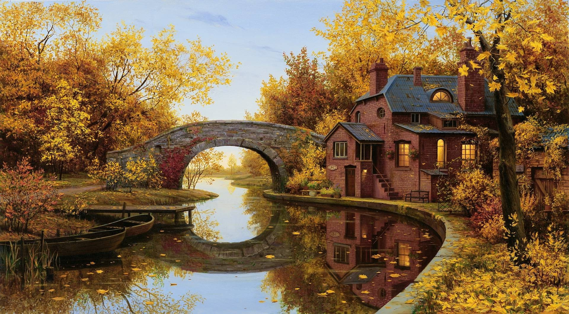 Reflection Bridge Arch River House Trees Boat Fall