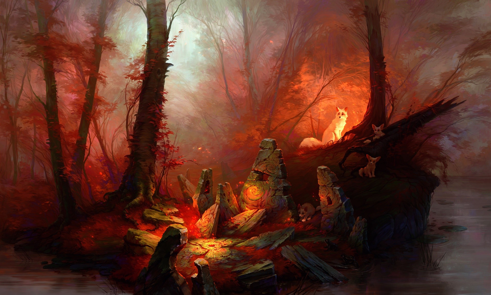 Red Forest Animals Fantasy Art Artwork Wallpapers HD