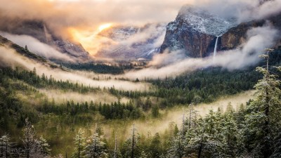 mountains, Nature, Forest, Mist, Yosemite National Park ...