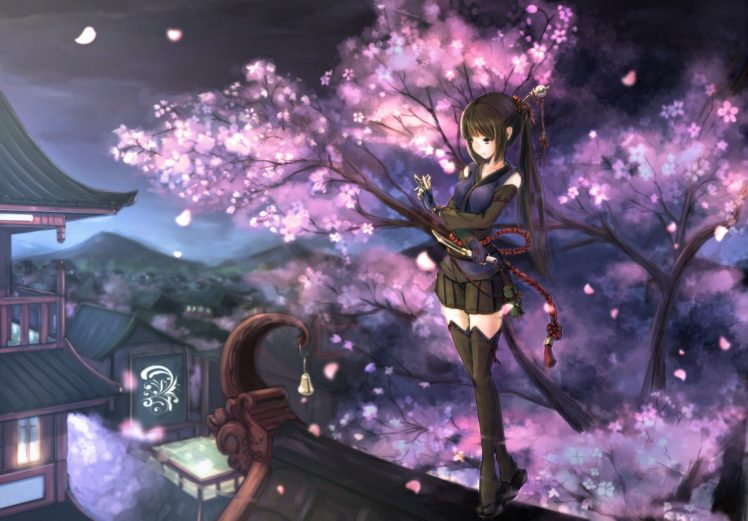 Anime Girls Anime Cherry Blossom Night Original Characters Wallpapers Hd Desktop And Mobile Backgrounds