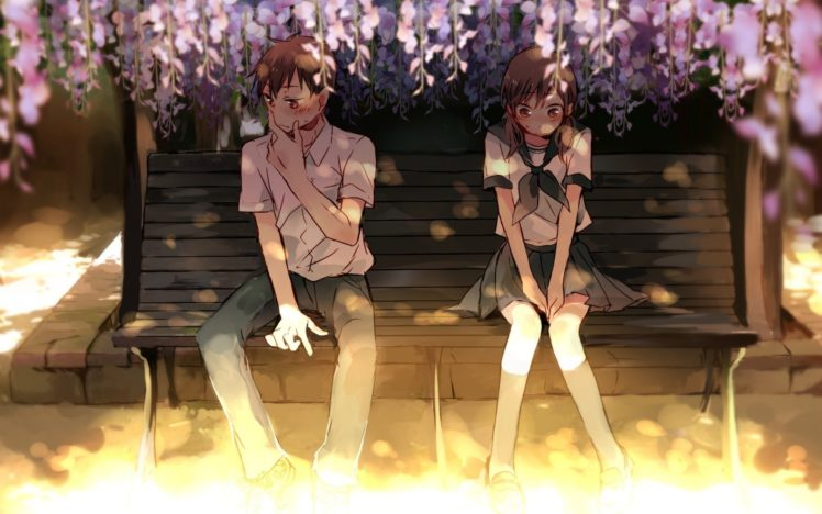 Cute Anime Girl Beautiful Short Hair Couple Love Boy School Uniform Wallpapers Hd Desktop And Mobile Backgrounds