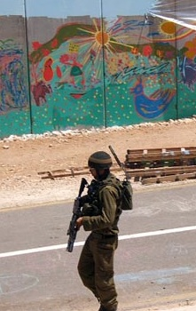 Soldier and mural