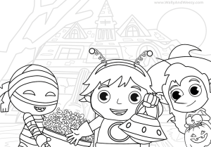 Ryan Halloween Trick or Treat to the Haunted House for kids! Coloring Page