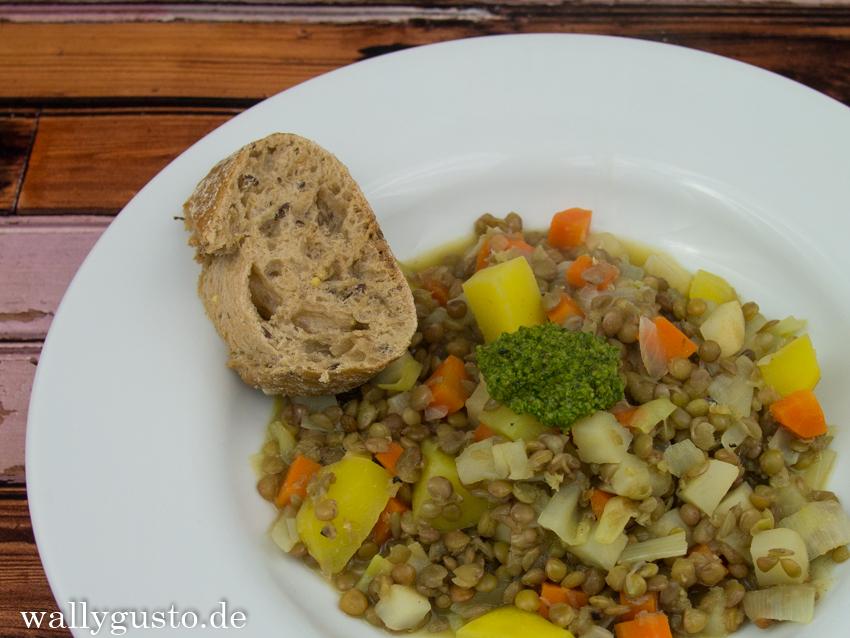 Linsen-Kartoffel-Eintopf mit (Bergkräuter-)Pesto| ALPENKÜCHE vegetarisch | Buchvorstellung