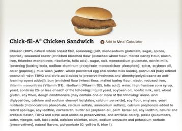 Chick-Fil-A-Sandwich ingredinet label