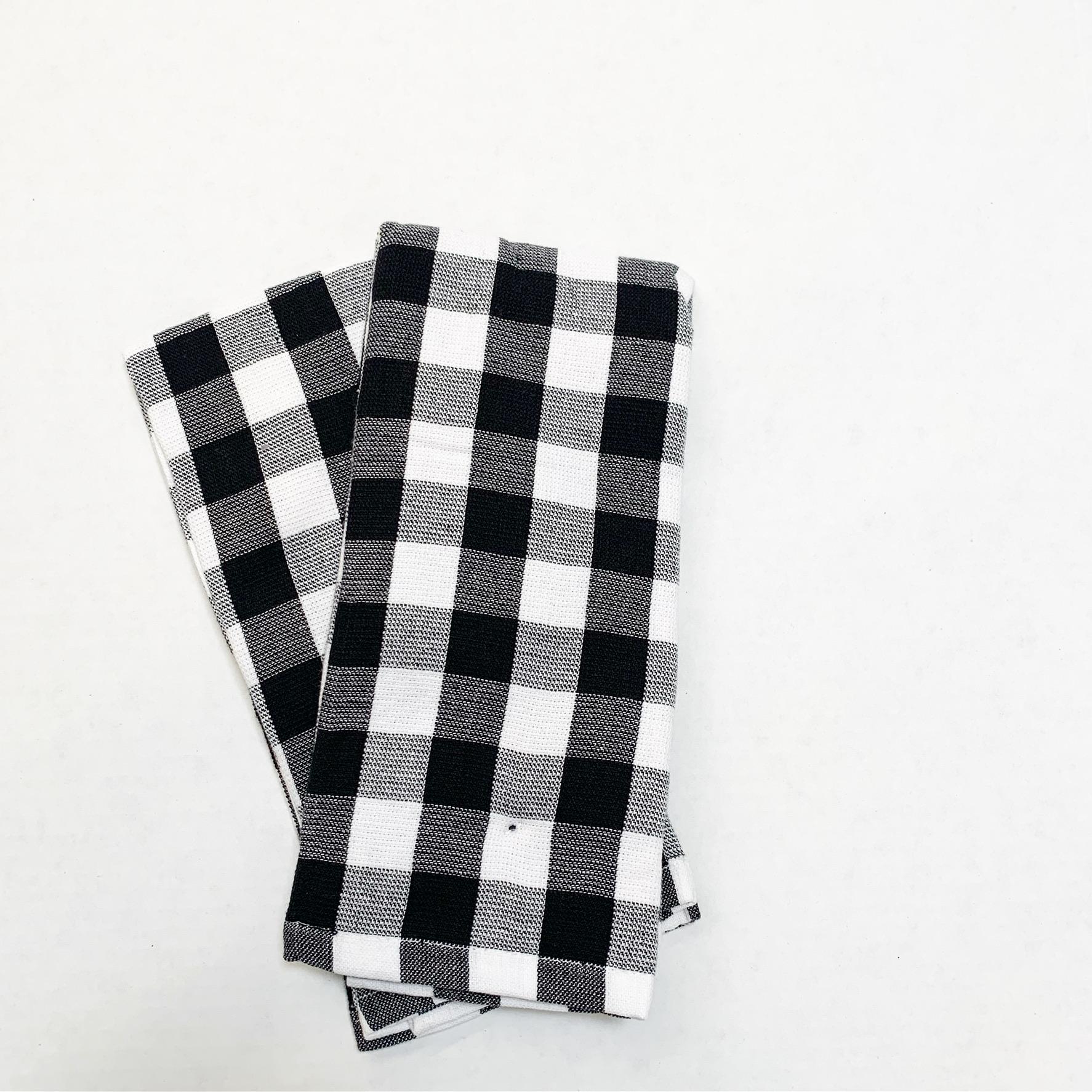 black and white buffalo plaid kitchen towel
