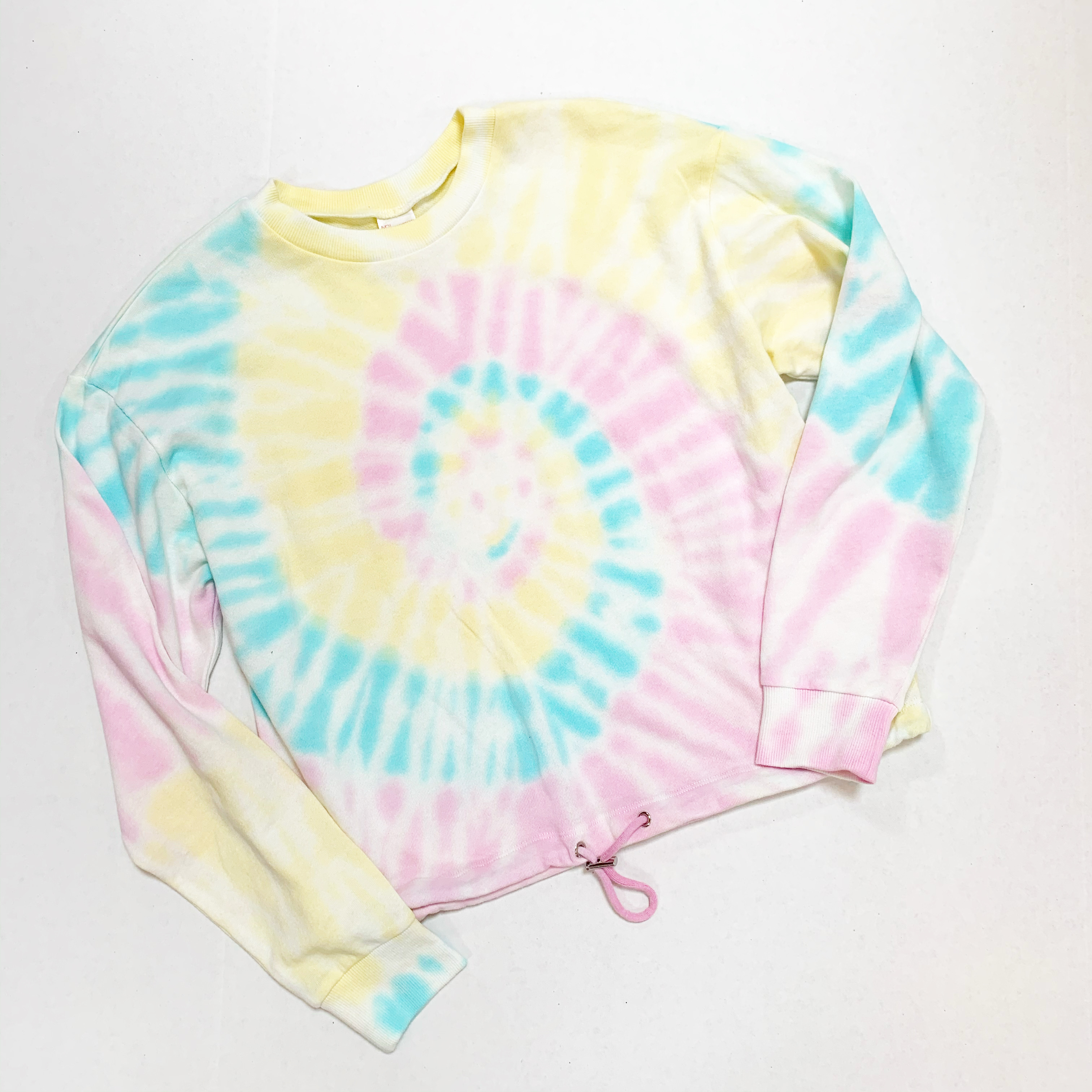 cinched waist tie dye sweatshirt