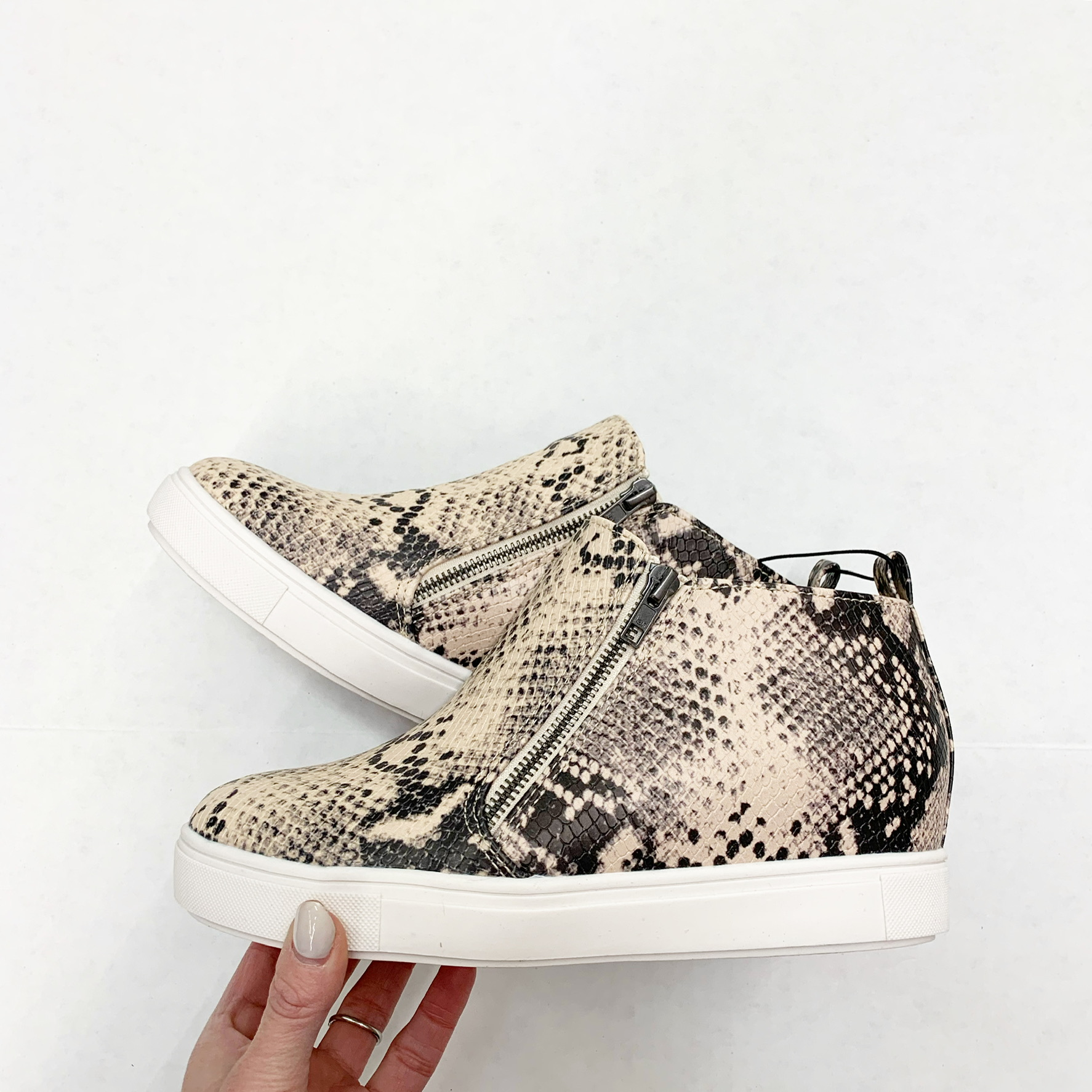 time and tru wedge sneakers snake print