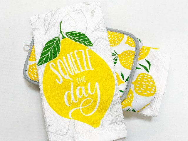 """Mainstays """"Squeeze the Day"""" Kitchen Towel and Lemon Kitchen Set"""