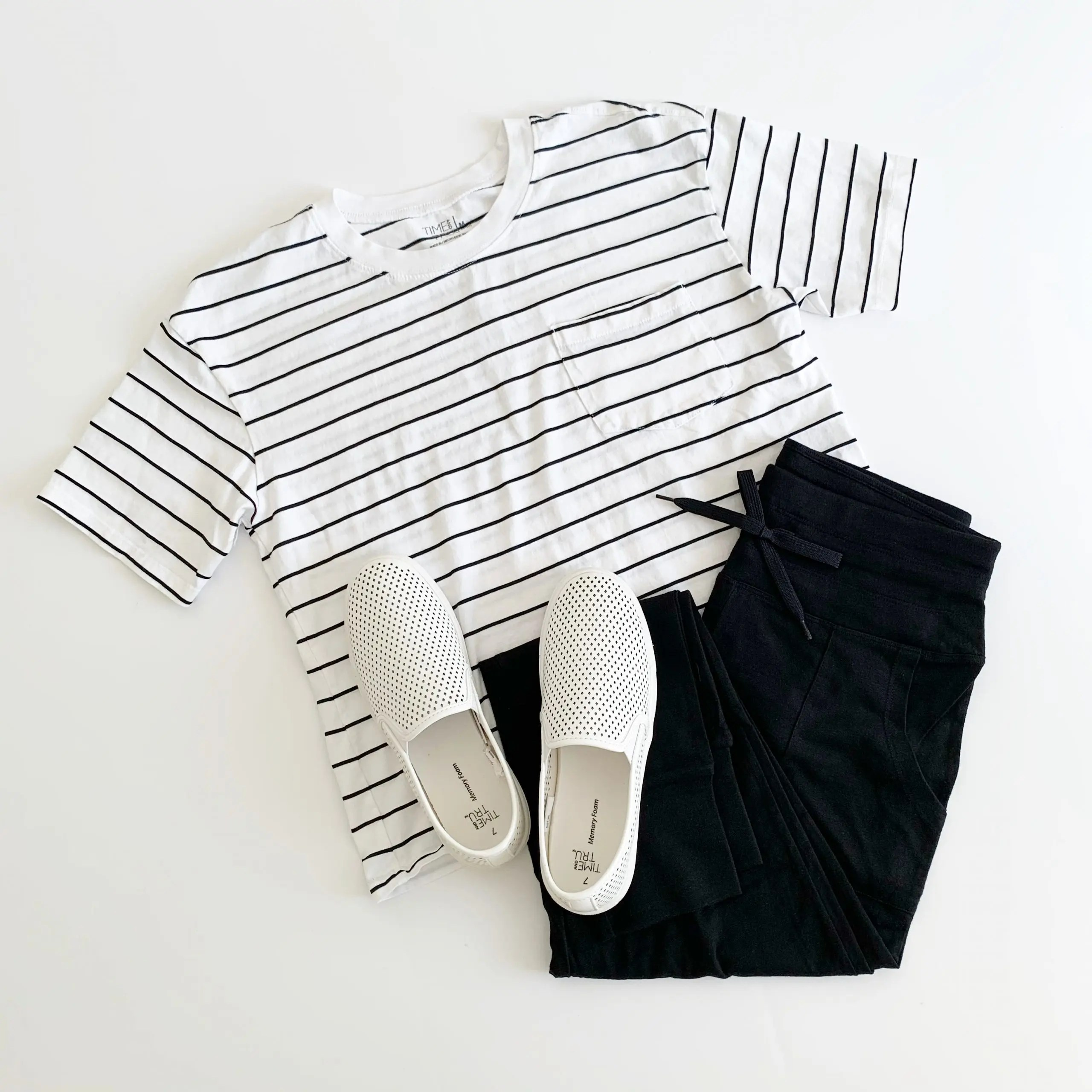 athletic works joggers, time and tru boyfriend tee and slip-on shoes