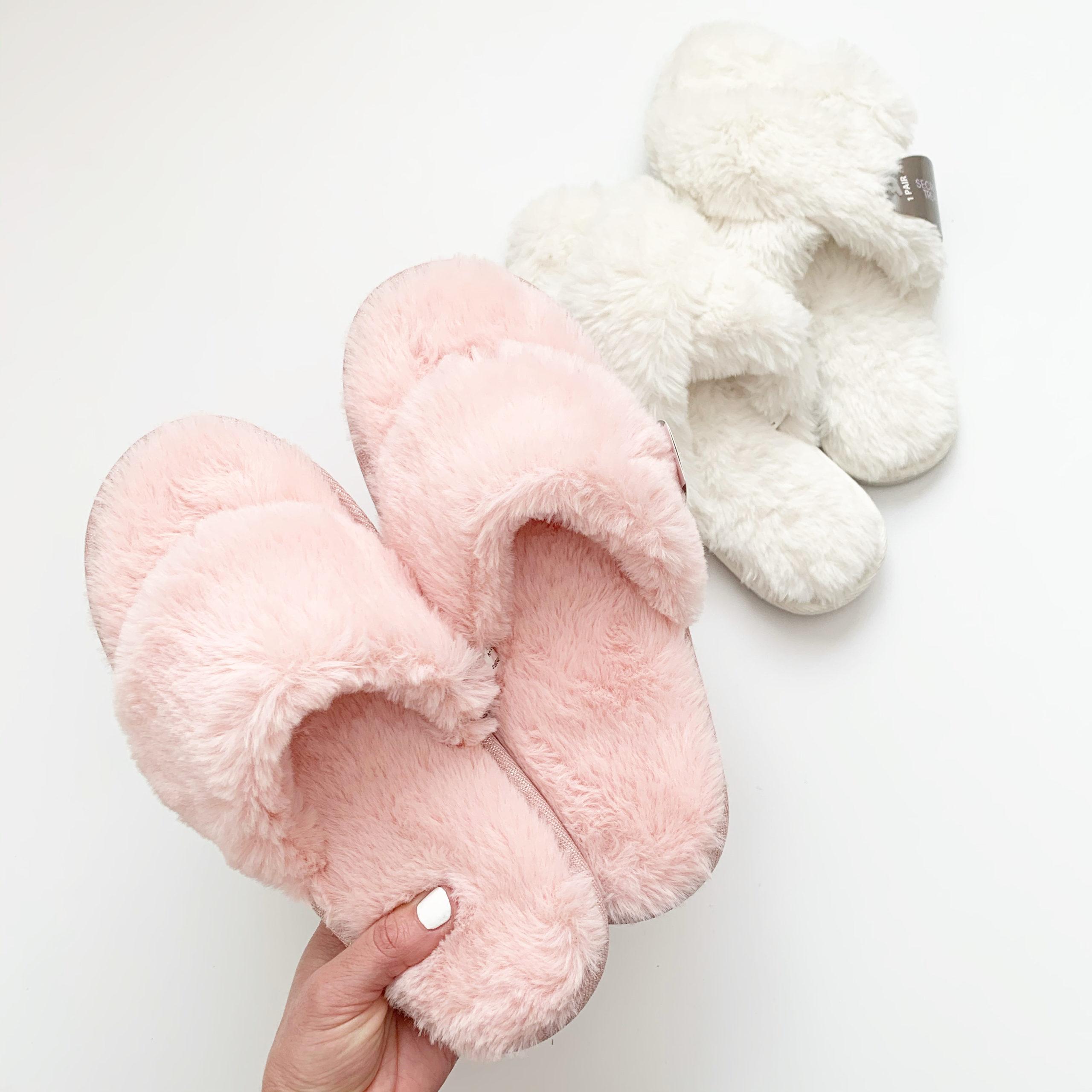 Fuzzy Crossband Slippers at Walmart