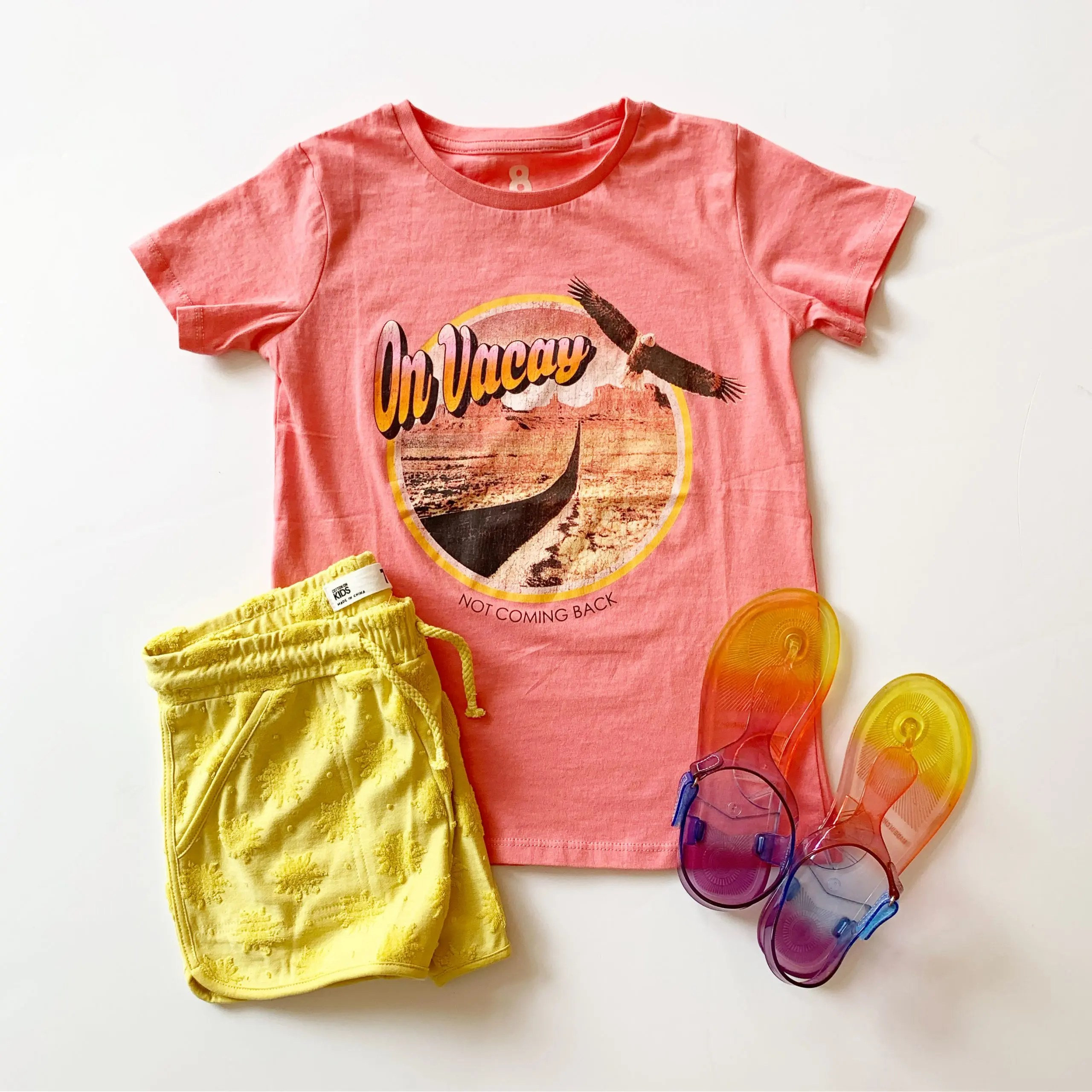 cotton on kids graphic tee and shorts with wonder nation rainbow jelly sandals
