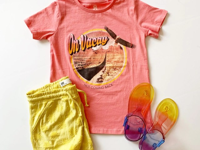 Cotton On Kids Graphic Tee, Knit Shorts, and Wonder Nation Rainbow Jelly Sandals