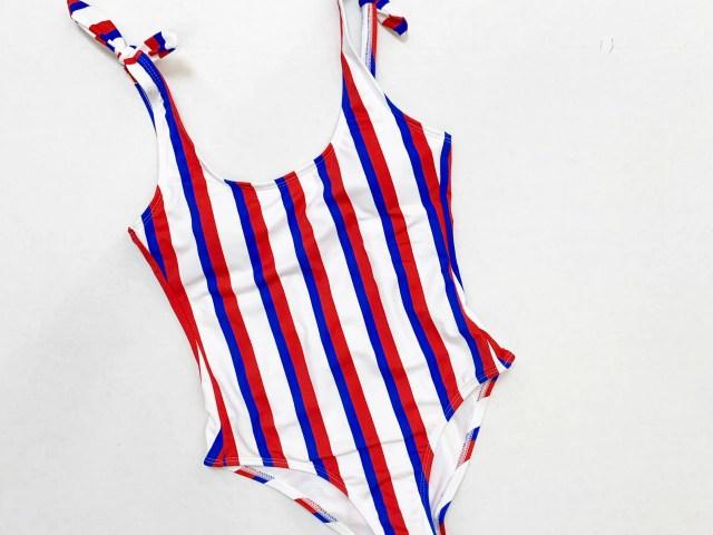 No Boundaries Americana Stripe One Piece Swimsuit