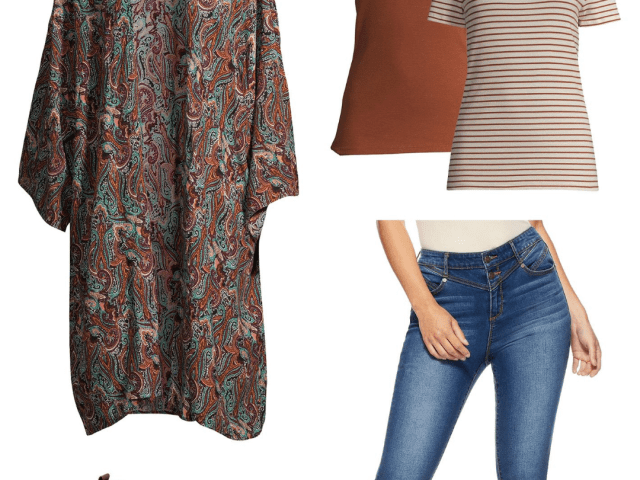 Fall Fashion Finds From Walmart – Time and Tru Kimono + Sofia Vergara Jeans