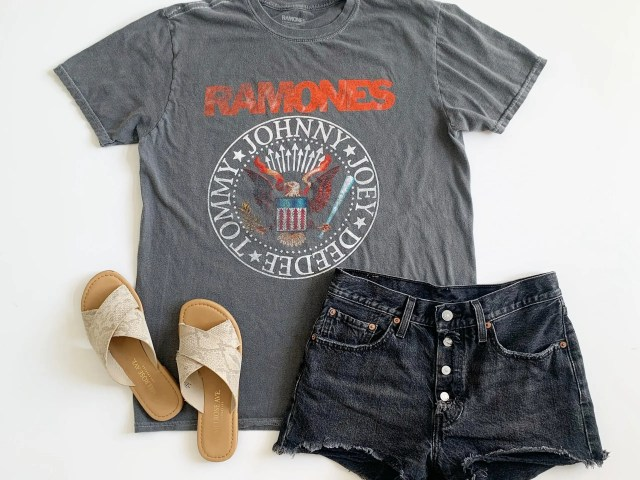 Plain Studios Ramones Graphic Tee, Melrose Ave Snake Print Sandals, and Levi's 501 Shorts