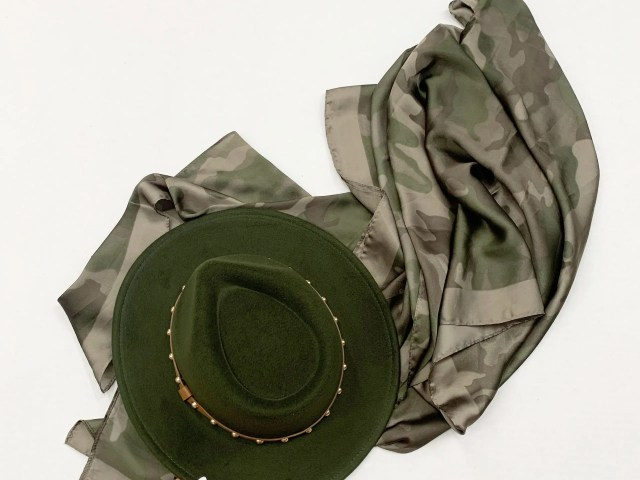 No Boundaries Studded Fedora and Time and Tru Camo Ruana