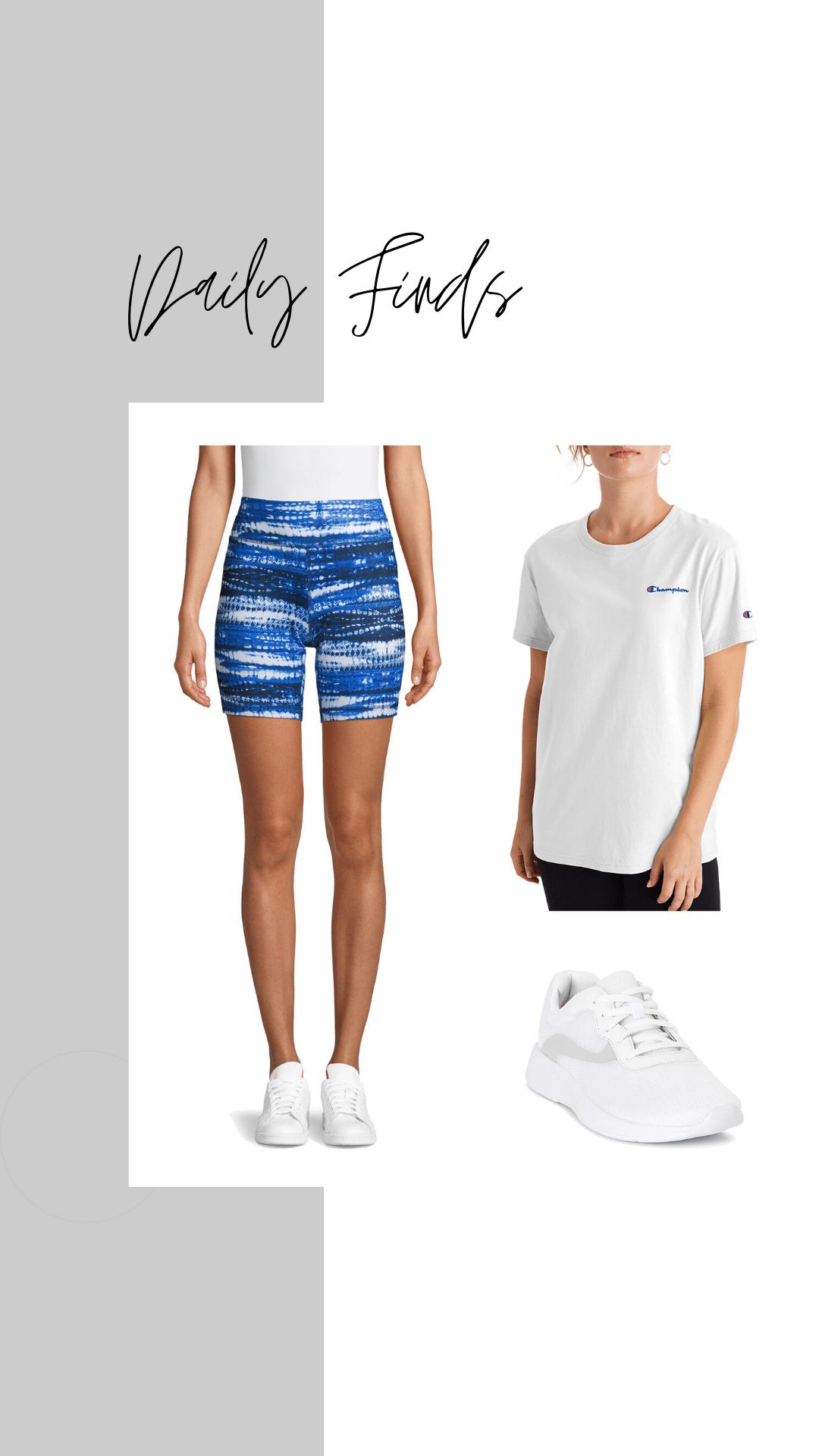 new athletic works tie dye bike shorts, champion boyfriend tee, and mesh sneakers