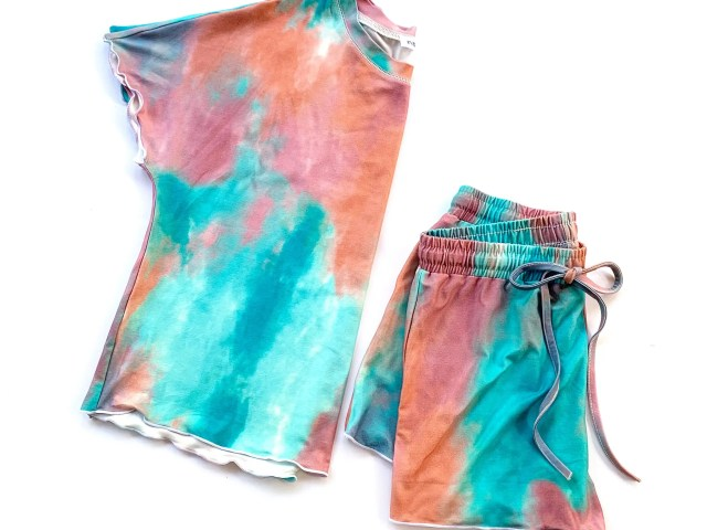 Ever-Pretty Short Sleeve Tie Dye Pajama Set