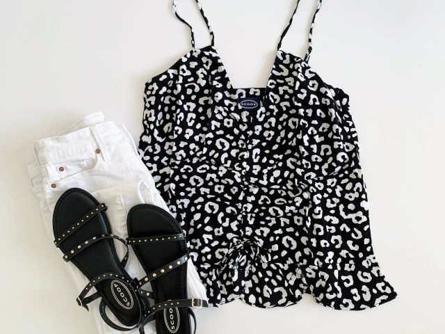 Scoop Peplum Hem Tank and Juliet Flat Sandals