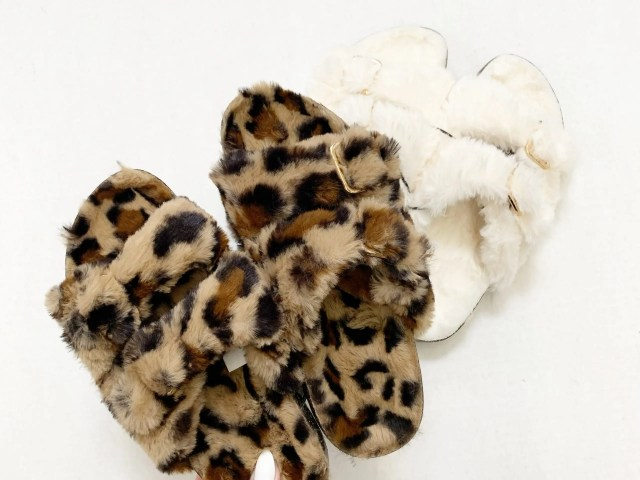 Secret Treasures Faux Fur Two Band Slide Slippers