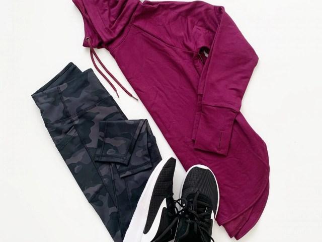 Avia Camo Leggings, Athletic Works Mock Neck Hoodie and Mesh Sneakers