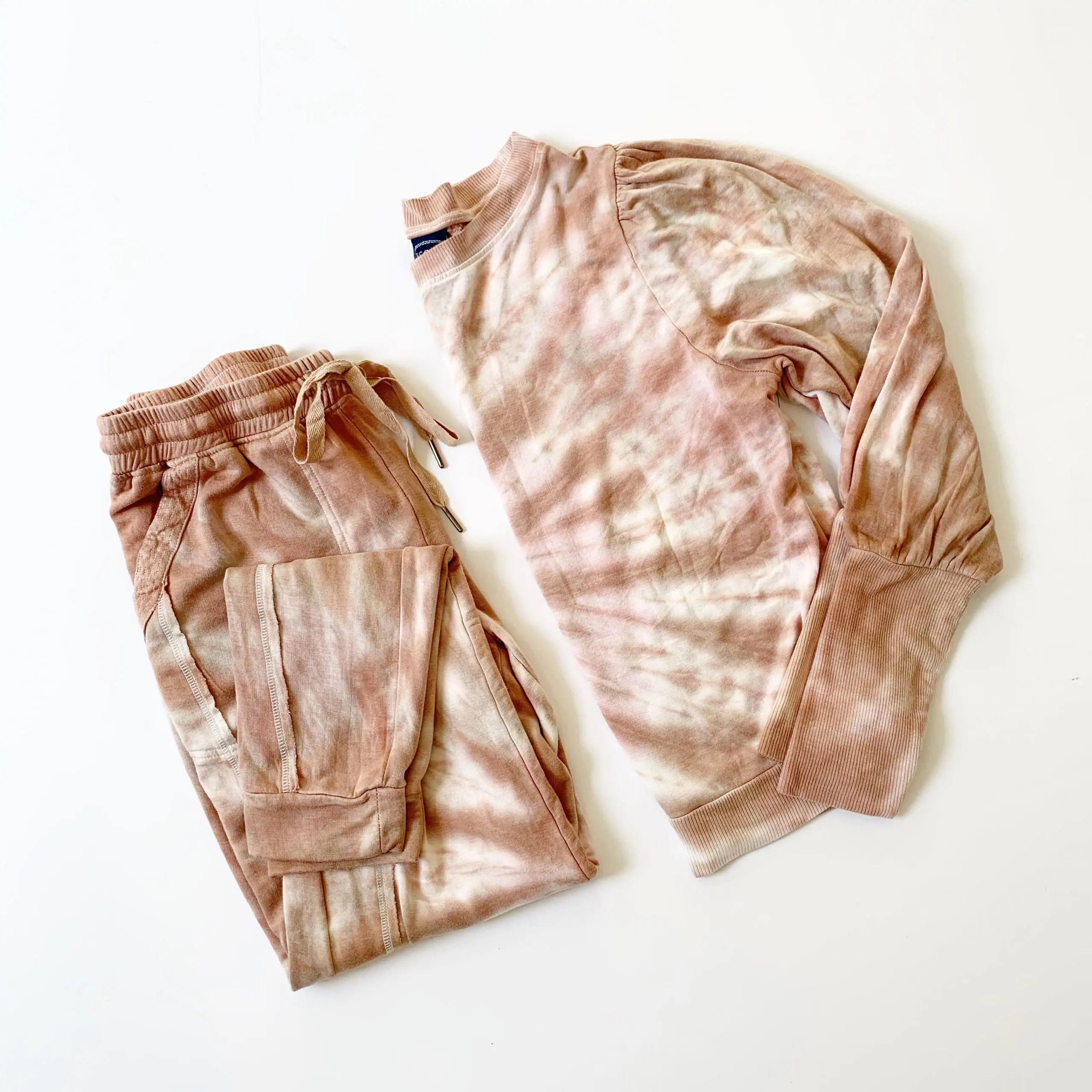 Scoop Tie Dye Joggers and Puff Sleeve Sweatshirt