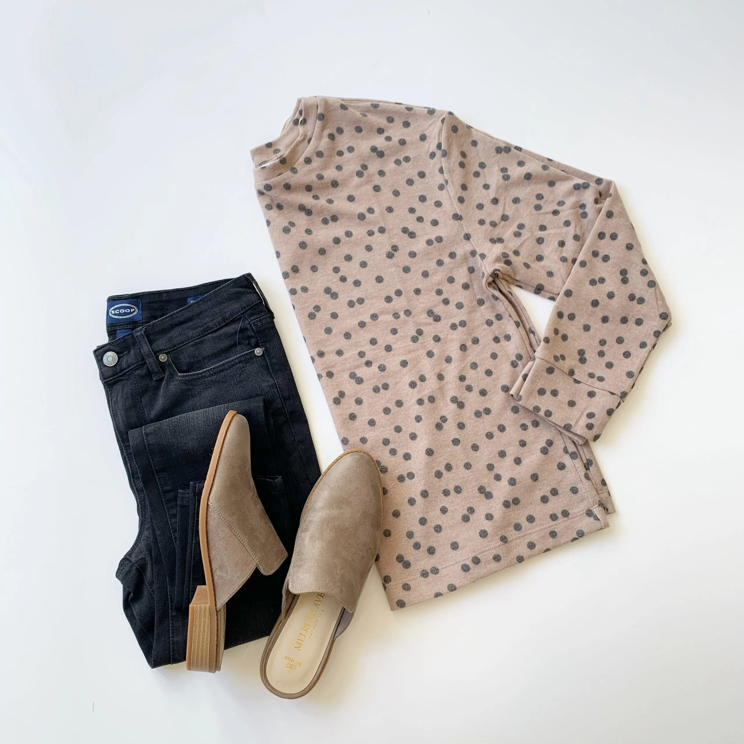 Time and Tru Hacci Pullover, Scoop Skinny Jeans, and Melrose Ave Suede Mules