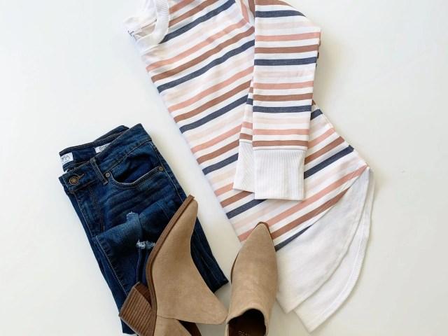 Gray by Grayson Social Stripe Crewneck Pullover and Sofia Vergara Ankle Jeans