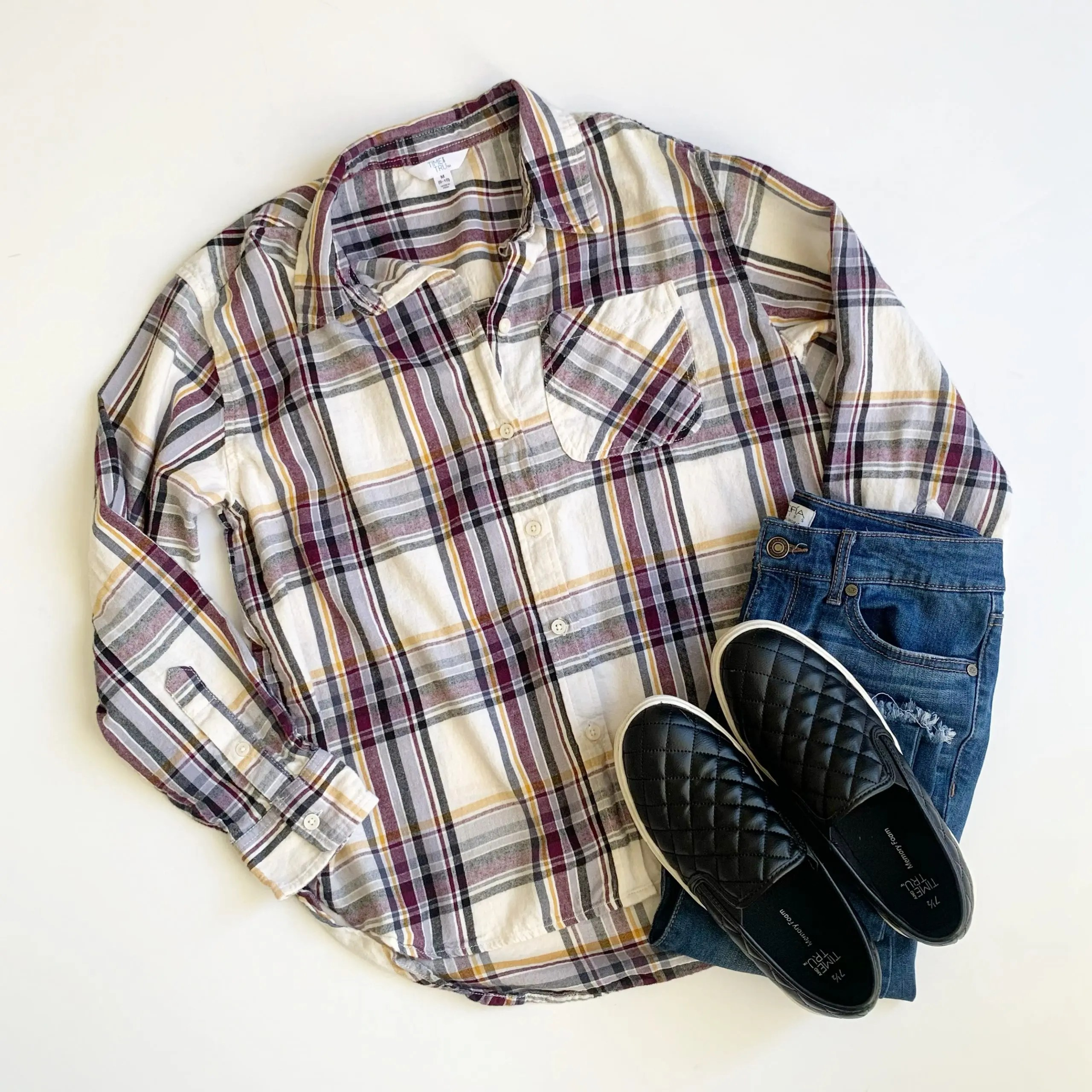 Time and Tru Plaid Button Front Shirt, Quilted Slip-Ons and Sofia Jeans