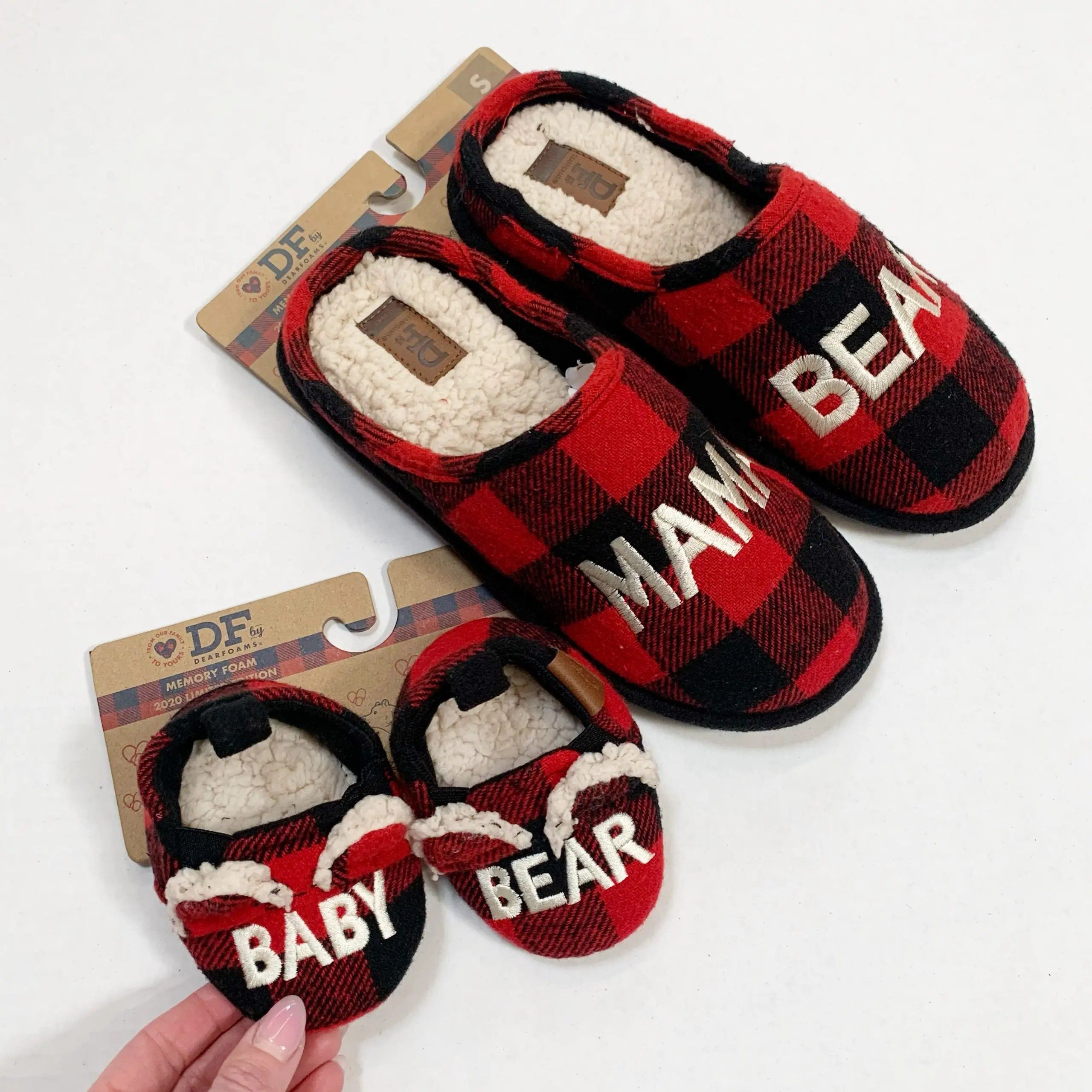 Dearfoams Mama Bear and Baby Bear Slippers