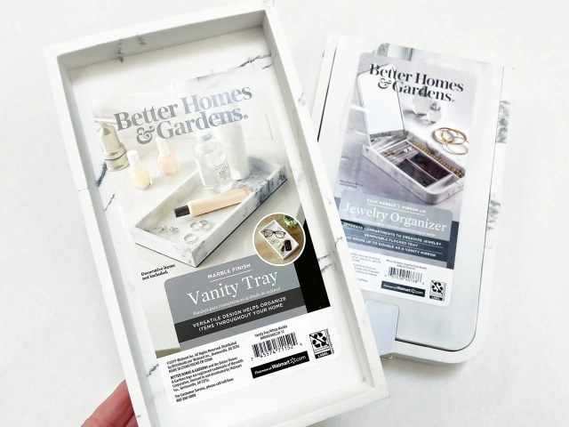 Better Homes and Gardens Marble Finish Vanity Tray and Jewelry Organizer