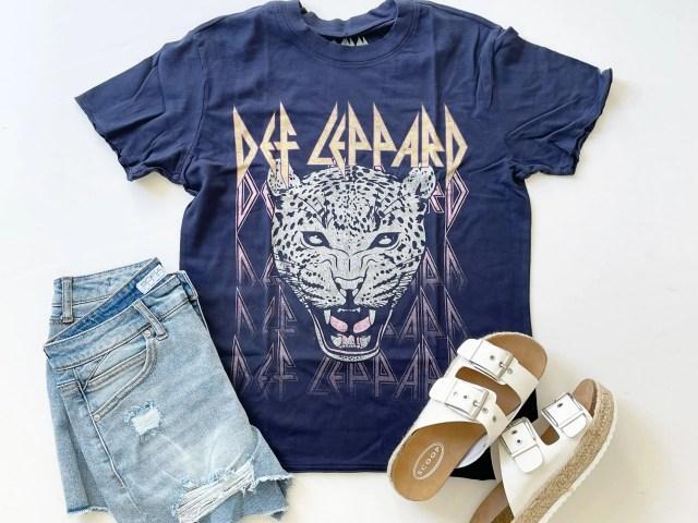 Scoop Def Leppard Graphic T-Shirt, Sofia Vergara Hi-Rise Shorts and Scoop Platform Sandals