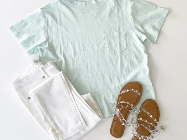 Free Assembly Boxy Mock Neck T-Shirt, Sofia Vergara Raw Hem Ankle Jeans and Time and Tru Studded Sandals