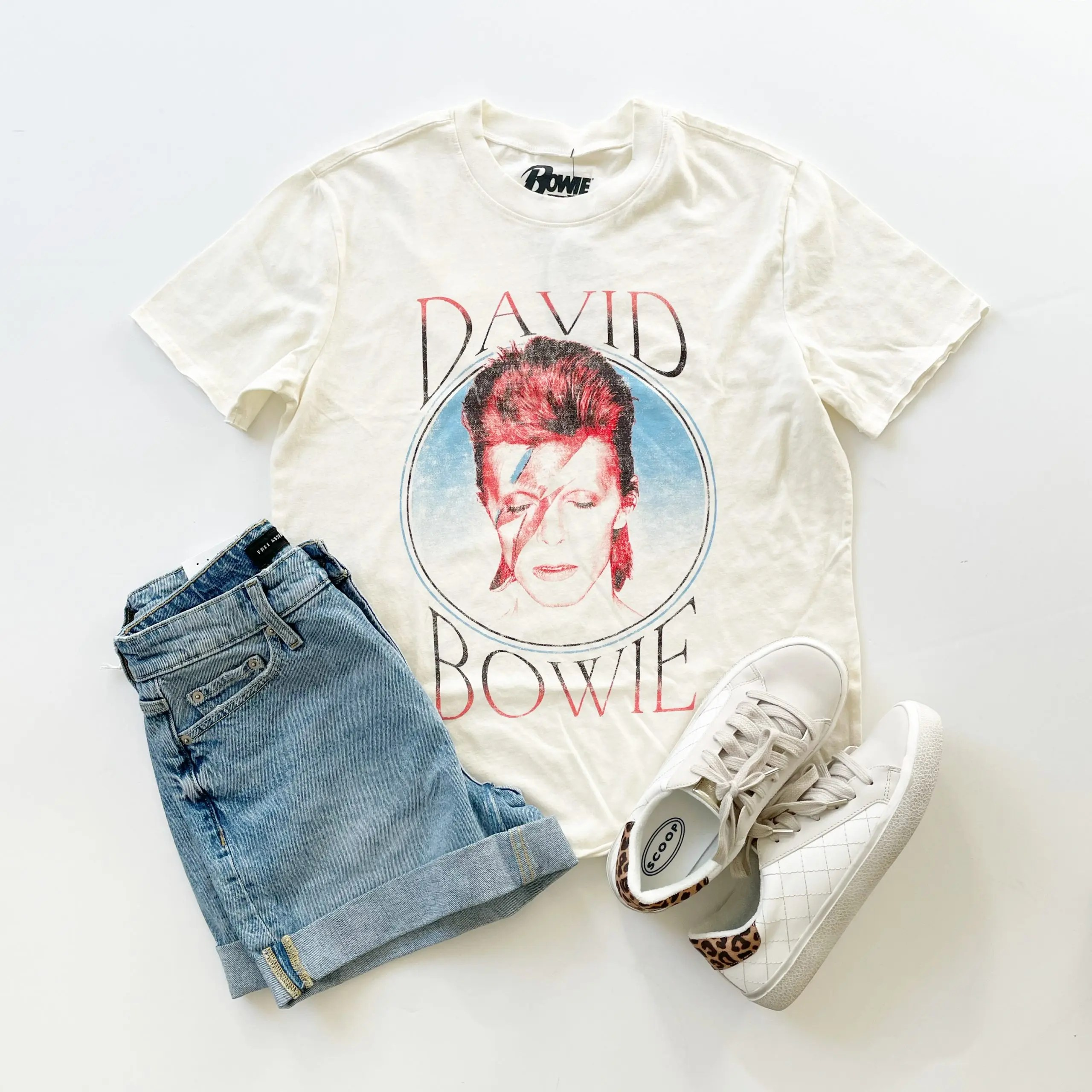 Scoop David Bowie Boyfriend Tee and Free Assembly Cuff Jean Shorts