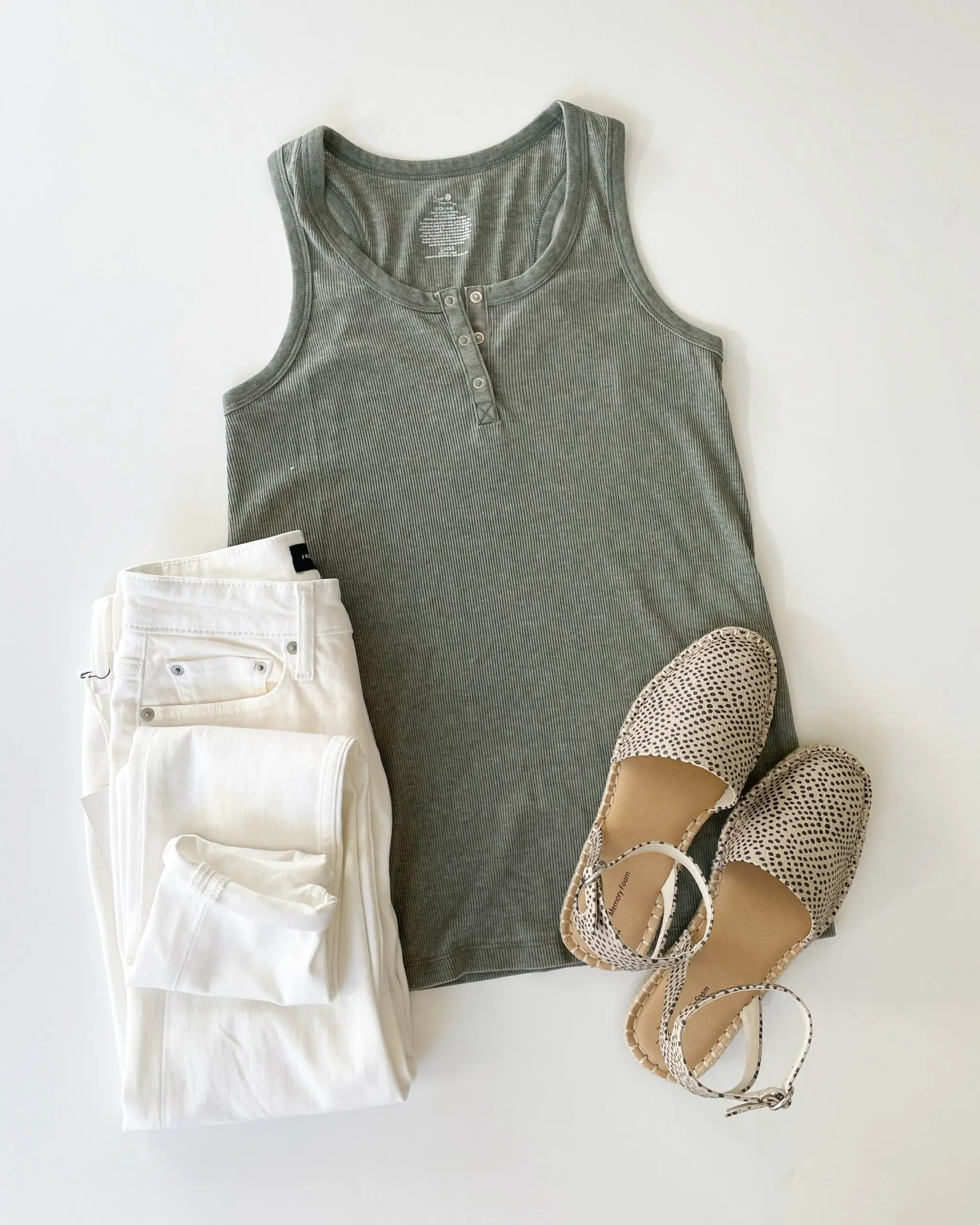 Secret Treasures Ribbed Tank, Free Assembly Jeans and Time and Tru Espadrilles