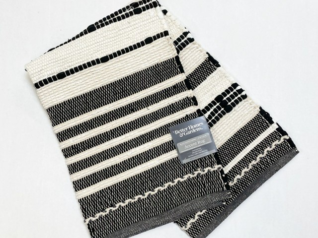 Better Homes & Gardens Black & White Striped Accent Rug