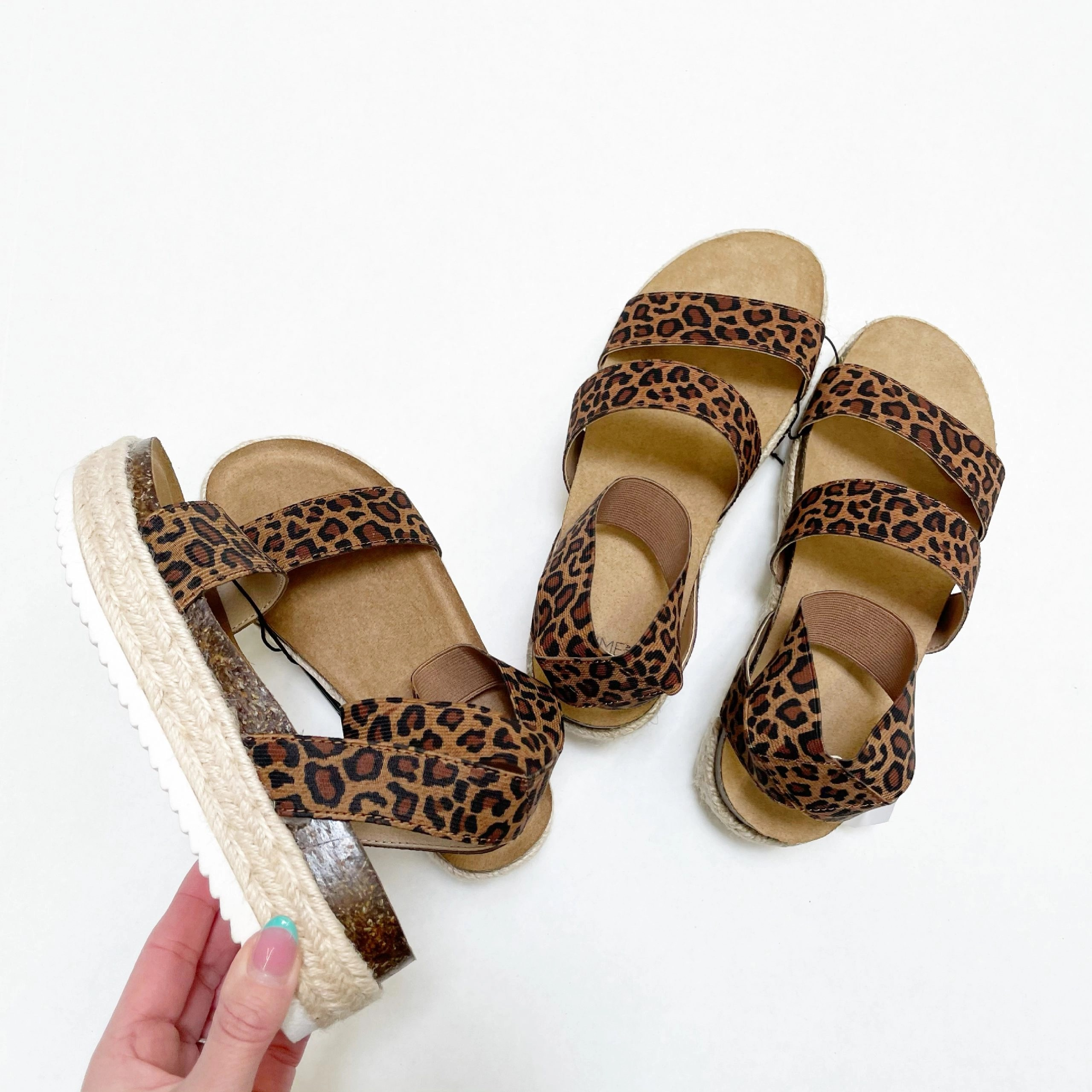 Mommy & Me Matching Sandals - Time and Tru + Wonder Nation Leopard Print Flatform Sandals