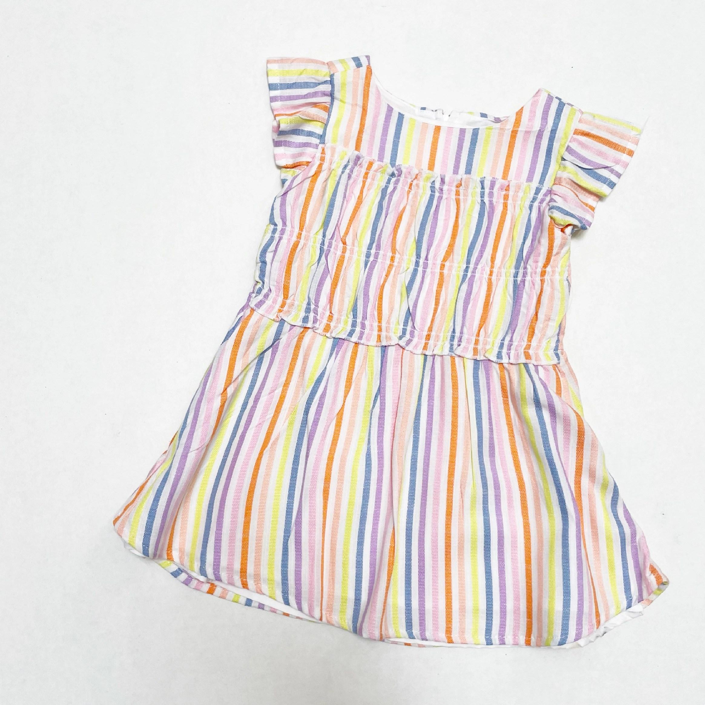 Wonder Nation Baby Girls & Toddler Girls Smocked Dress with Flutter Sleeves, Sizes 12M-5T