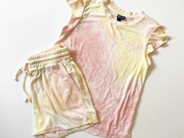 Scoop Terry Cloth Flutter Sleeve Top and Track Shorts