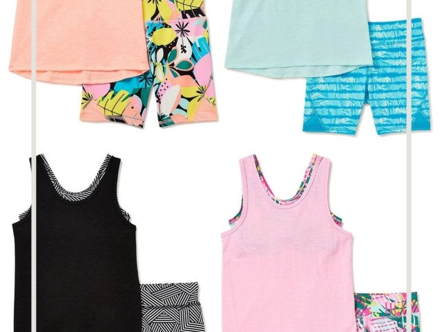 Athletic Works Girls Active Tank Top and Printed Bike Shorts Set