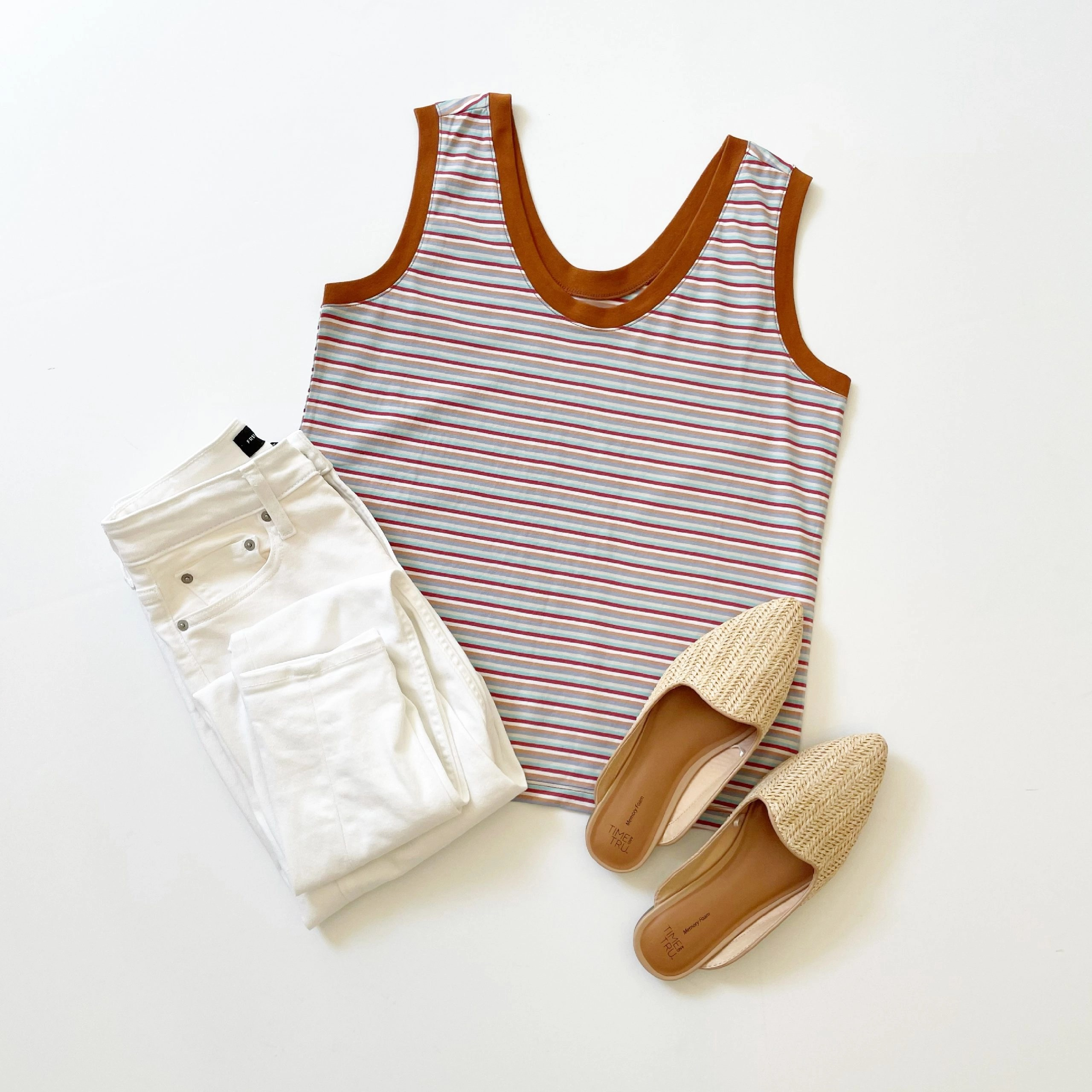 Free Assembly U Neck Tank Top, High Rise Skinny Jeans and Time and Tru Woven Mules